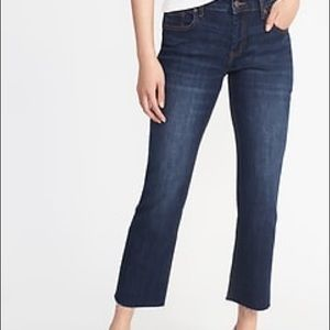 Old Navy Mid Rise Crop Flare Raw Hem Jeans Size 10